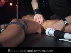 Hot blonde tied up and trained to be a good sex slave