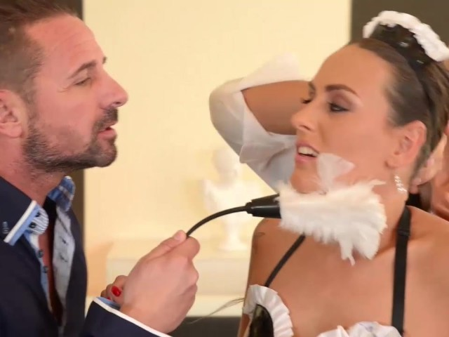 Flexible French Maid gets her Ass Double Penetrated by Boss.mp4