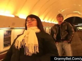 Mature fattie in the metro...
