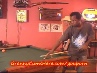 Granny Gets Gang Banged At Poolhall...