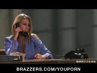 Horny big-tit brunette wife Phoenix fucks guard to release hubby