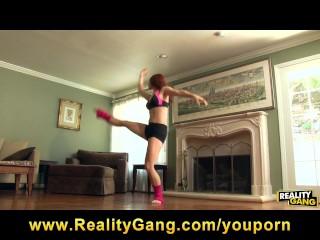 Flexible redhead ballet dancer rides man s cock...