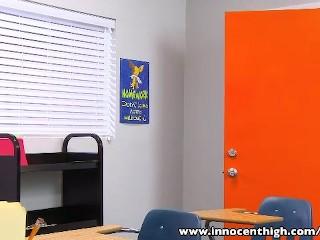 innocenthigh-tall-brunette-scarlet-banks-classroom-fucked