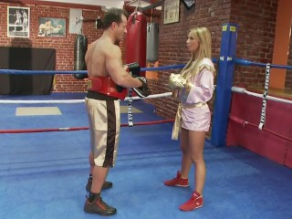 Boxing coach fucks a blonde hard in the ring   Playvision...