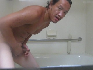 Suck his own dick in the restroom and touches his sexy balls...