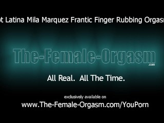 Hot latina frantic finger rubbing masturbation