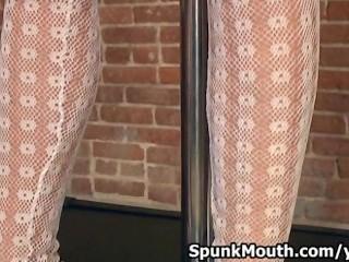 Teen pole dancer sucks stranger s cock for a spunkmouth