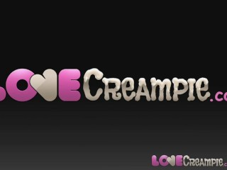 Love creampie two horny women take cum in their...