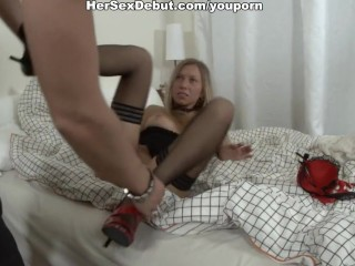 Sexy Girl In Fishnet Stockings Fucked Hard With Unusual Sex Toys...
