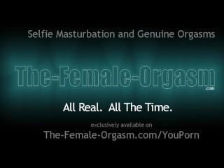 Horny films her masturbation session...