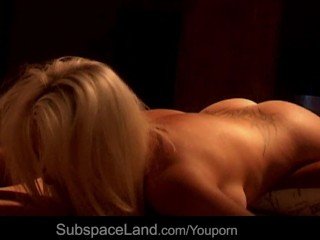 Hard BDSM young blonde suspension