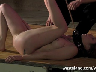 Brunette sex slave has pussy flogged before...
