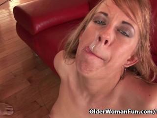 Cum craving soccer moms get a facial
