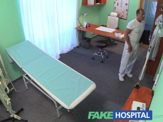 Fakehospital slim blonde gets creampied after the toilet and office