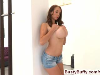 Busty buffys boobs jump on fitness ball