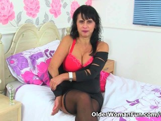 British milf raven strips off and...