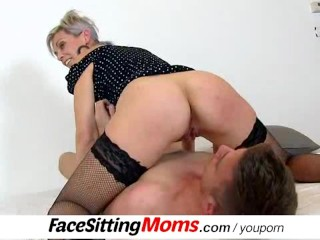 Hot wife Beate wears fishnet stockings during facesitting
