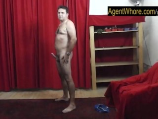 Two guys in the row for busty Agent Whore...