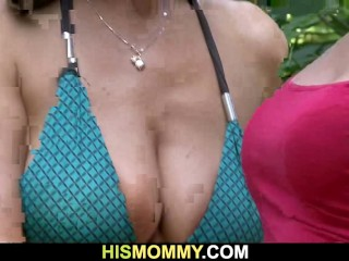 Cute GF is fucked by his busty mom