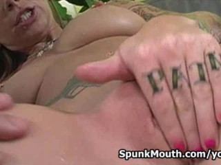 Porn cutie Scarlett Pain gets wild on thick cock for a nasty cum facial