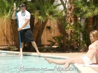 Pool boy fucks sexy redhead cynthia thomas...