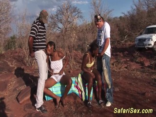 Safari threesome orgy...