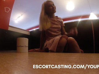 Real Escort Video Interviewing Teen At Coffee Shop And Taking Her Back To Flat...