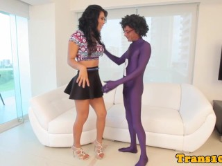 Latina tgirl assfucked until cumsprayed