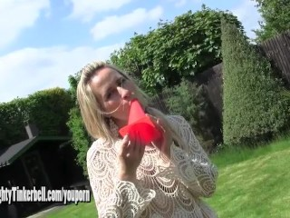 Horny anal fucks huge traffic cone as she toys pussy with vibrator