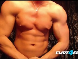 muscular hunk jerks his big beautiful uncut...