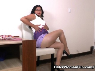 Latina milf Lucia has a vibrating egg in her panties