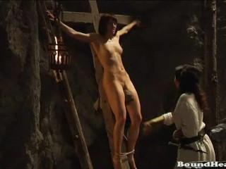 Gorgeous lesbian slaves enjoying