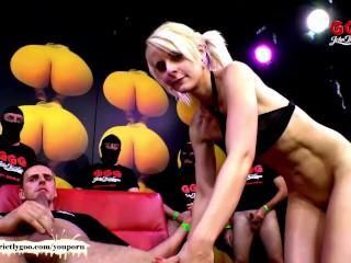 Skinny blondie drinks cum from a plastic tube - German Goo Girls