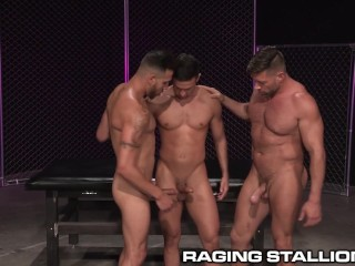 Ragingstallion sweaty muscle men intense threesome...