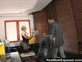 Realmomexposed caught with finger in pussy she  boss...